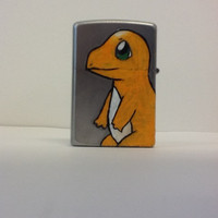 Hand Painted Zippo Lighter -- Pokemon Charmander