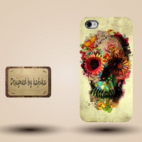 unique iphone case, i phone 4 4s 5 case,cool cute iphone4 iphone4s 5 case,stylish plastic rubber cases cover, yellow flower floral Skull 960