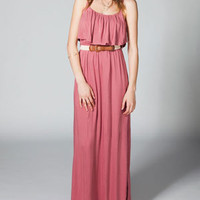 FULL TILT Ruffle Belted Maxi Dress