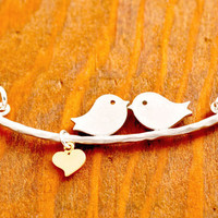 Love Birds Necklace - couple necklace, valentine&#x27;s jewelry, be my valentine, heart necklace, love necklace, gifts for her