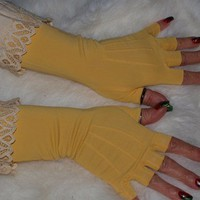 Vintage gold mid-length fingerless gloves with ivory lace trim