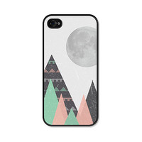 Tribal Geometric Moon and Mountains iPhone 5 Case - iPhone 5 Cover - iPhone 5 Skin - Mint Green Black Pink Coral Peach Triangle Cell Phone