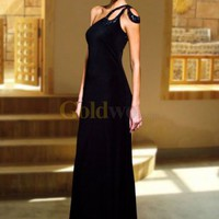 Unique Sheath One-Shoulder Black Satin Evening Gown