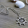 Ship&#x27;s Wheel Necklace - Nautical - Summer Trends - Ocean - Under 20 - Antique Silver Chain