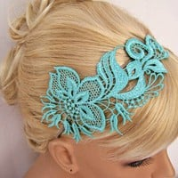 Mint green lace headband floral design