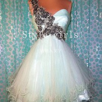 Charming Sweetheart one shoulder petal prom dress/homecoming dress