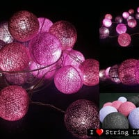 Violet Colour Set Cotton Ball String Lights For Wedding and House decoration (20 Flowers/Set)