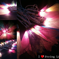 Mixed Colour Bodhi Tree Leaf String Lights For Wedding and House decoration (20 Flowers/Set)