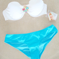 New Victoria's Secret Sexy Jewel Bandeau White Blue Bikini Swimsuit 36B M
