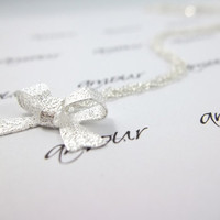 Silver Bow Necklace - Simple Minimalist Necklace - Bow tie charm