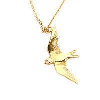 Buy Alex Monroe Flying Swallow Pendant Necklace, Gold online at John Lewis