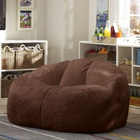 Brown Sherpa & Luxe Fur Cloud Couch