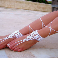 White Barefoot Sandals wedding sandals. barefoot sandals, barefoot sandles, crochet barefoot sandals, , barefoot s