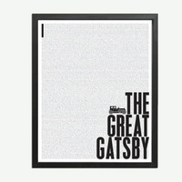 The Great Gatsby by F. Scott Fitzgerald - Art Print - Poster for Book Lovers - 8 x 10 Wall Decor