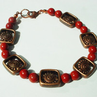Copper and red jasper bracelet, 8 inch bracelet, red bead bracelet