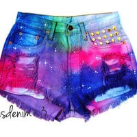 DIY Nasty Shorts Levi&#x27;s Rainbow Galaxy STUDS vintage high waisted ombre cut off