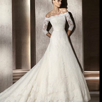 Discount China  2012 A-line strapless train beaded lace satin ivory white wedding dresses DWB895404 [BDWB895404]- US$499.00 - JCFbridal.com