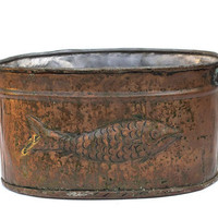 Vintage Copper Metal Pot - Fish Design - Rustic Cottage Home Decor