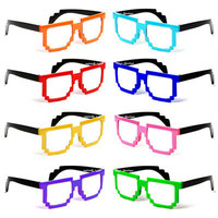 8 BIT PIXEL TWO TONE GLASSES PIXELATED CLEAR LEN nerd video game geek FREE POUCH