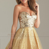Sequins Gold Tulle Bridesmaid Prom Party Ball Evening Dresses Homecoming Dress