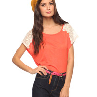 Embroidered Shoulder Tee | FOREVER21 - 2000035762