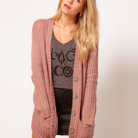 ASOS Chunky Rib Cardigan In Pastels