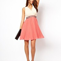 Little Mistress Cross Over Pleat Skirt Dress at asos.com