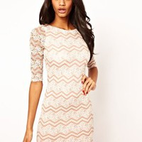 Lipsy Zig Zag Lace Dress at asos.com