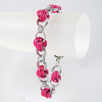 Chainmaille Bracelet Pink Love Knots by HCJewelrybyRose on Etsy