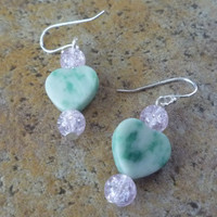 Tree Agate and Pink Crackle Glass Sterling Silver Earrings