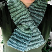 Knit Green Keyhole Scarf / Neck Warmer - Wool / Mohair / Acrylic Blend