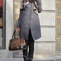 Linen Trench Coat Jacket in Grey  Custom Made by camelliatune