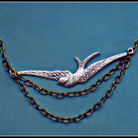 silver and gold bird necklace silver bird silver by alapopjewelry