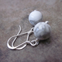 Minimalist Howlite Earrings. White Gemstone Rounds wrapped in 925 Sterling Silver. Bridal. Simple. Achromatic. For Her. Spring / Summer