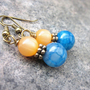 Contrasting Gemstone Earrings. Teal Dragons Vein Agate & Apricot Orange Vintage Moonglow Lucite. OOAK Earrings. Gifts for Her