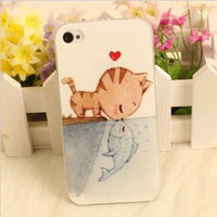 [grdx02069]Cute Cartoon Cat Kiss Fish Love Story Hard Cover Case For Iphone 4/4s/5