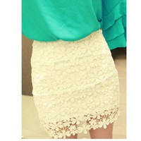 Creamy or black or rose lace skirt