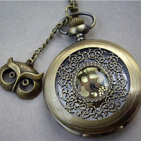 hollow golden dial Pocket watch(big size) Locket Necklace with A owl