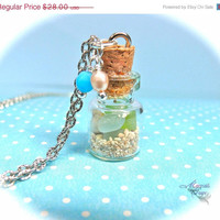 ON SALE Sea Glass Necklace, Hawaiian jewelry vial sand & seashells in a jar, mermaid treasures pendant from Hawaii