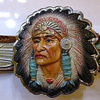 Hand painted Apache Indian belt and buckle