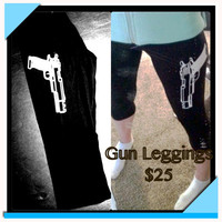 Women&#x27;s Gun Leggings S M L  by LeiaLove00 on Etsy