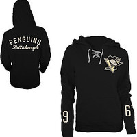 Old Time Hockey Pittsburgh Penguins Women's Queensboro Lace Hooded Sweatshirt