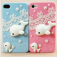 cute whale lace case for iphone 4/4s/5