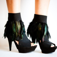 CRUELLA Black Feather Ankle Cuffs by jdotdesigns on Etsy