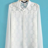 Lace Stitching Chiffon Shirt S010474
