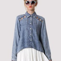 Chicwish Cut Out Denim Shirt S010483