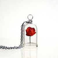 Red Rose in a Bell Jar Terrarium Necklace / Pendant by kivaford