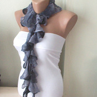 New Model Flamenco Grey Tones Ruffle  Scarf by Periay on Etsy