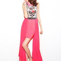 Red Retro Print Chiffon Dress S010514