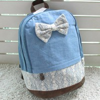 Stylish blue bow lace backpack